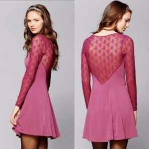 URBAN OUTFITTERS Pink Lace Sleeve Fit Flare Dress